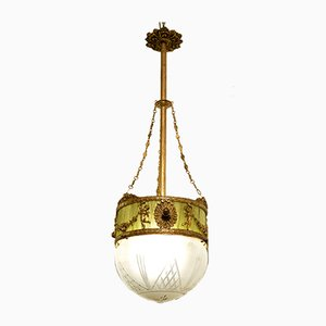 Art Nouveau Brass, Green Fabric, and Glass Globe Ceiling Lamp, 1920s