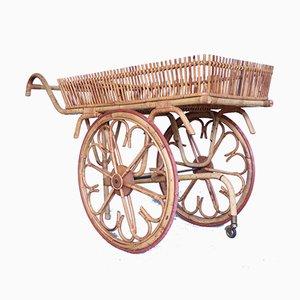 Mid-Century Bambus Rollwagen