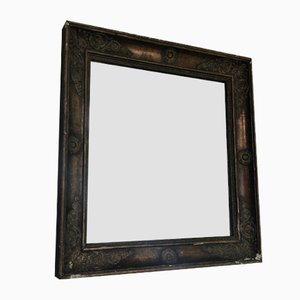 Vintage Square Patinated Mirror with Ornaments, 1940s
