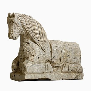 Antique Indian Limestone Horse Sculpture