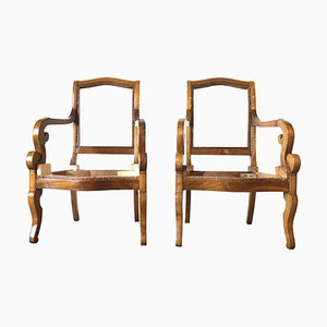 Antique French Armchairs, 1830s, Set of 2