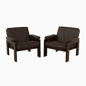 Vintage Wengé and Leather Armchairs, 1970s, Set of 2