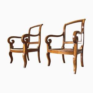Antike französische Charles X Armlehnstühle, 1830er, 2er Set