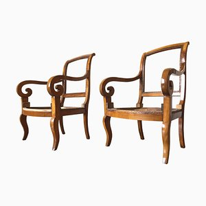 Antique Charles X French Armchairs, 1830s, Set of 2