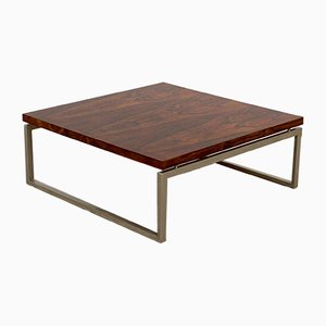 Vintage Square Rosewood and Metal Coffee Table, 1960s