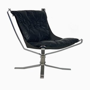 Vintage Black Low Back Chrome Falcon Chair by Sigurd Ressell for Vatne Møbler, 1970s