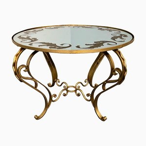 Art Deco French Round Gilded Iron Coffee Table, 1950s