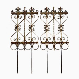 Antique Wrought Iron Trellis, Set of 2
