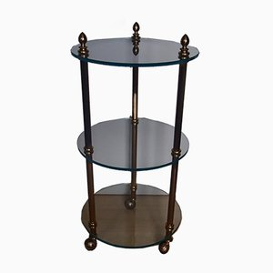 Small Vintage Round Brass and Glass Bar Cart from Maison Baguès