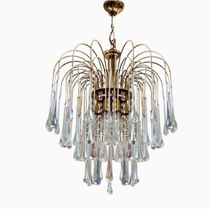 Brass and Murano Glass Chandelier, 1970s