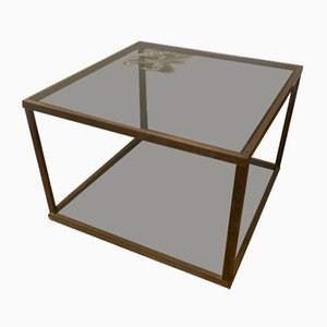 Brass and Silkscreen Coffee Table, 1970s