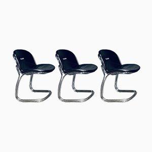 Chrome and Leather Sabrina Chairs by Rinaldo Bertoni, 1970s, Set of 3
