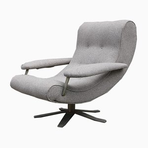 Gray Fabric Swivel Lounge Chair by Guido Bonzani for Tecnosalotto, 1970s