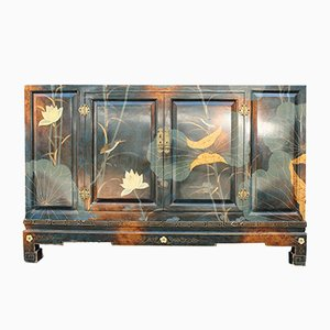 Oriental Style Lotus Flower and Birds Lacquer Sideboard, 1970s