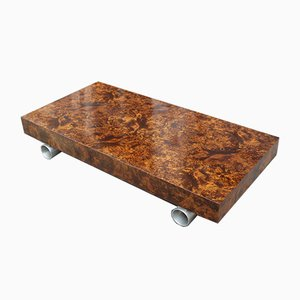 Burl Walnut and Satin Metal Coffee Table Attributed to Paul Evans, 1970s