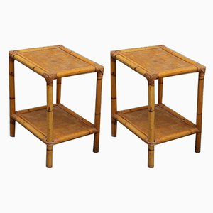 Italian Bamboo Nightstands, 1950s, Set of 2