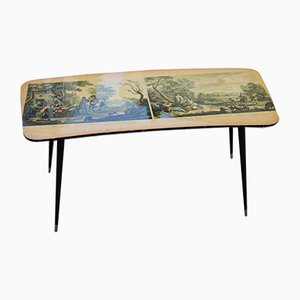 Italian Metal, Brass, and Prints Coffee Table, 1950s