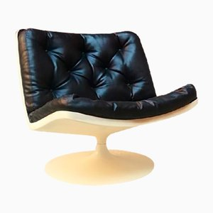 Vintage Space Age Plastic and Leather Tulip Armchair from Knoll Inc. / Knoll International, 1970s