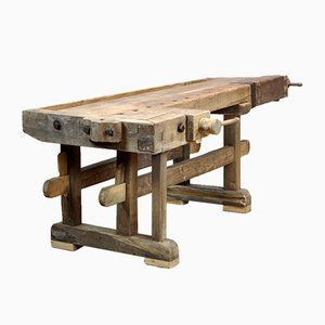 Antique Carpenters Oak Workbench, 1900s