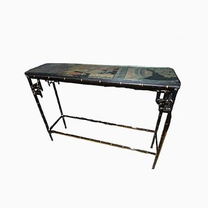 Mid-Century Ebonized Wooden Console Table in the Style of Maison Jansen, 1950s