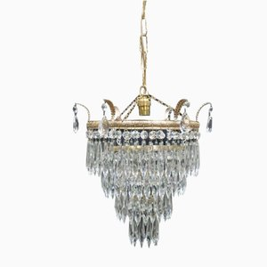 Art Deco Italian 4-Tier Crystal Glass Chandelier, 1930s