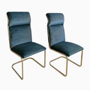 Ausbeigefertigte amerikanische Beistellstühle aus schwarzem Metall & schwarzem Samt, 1970er, 2er Set