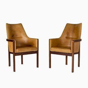 Leather and Rosewood Armchairs by Bernt Petersen for Erik Wørts Mobelfabrik, 1960s, Set of 2
