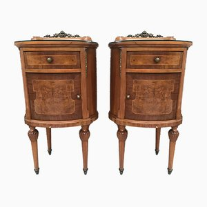 Vintage Louis XVI Style Metal and Mirror Marquetry Nightstands, 1920s, Set of 2
