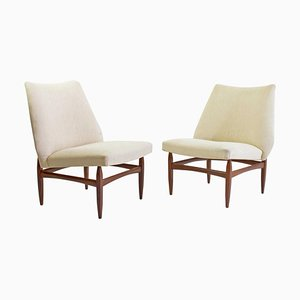 Mid-Century Modern Italian Lounge Chairs in Teak, 1950s, Set of 2
