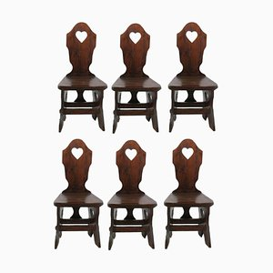 Mid-Century Spanish Log Cabin Dining Chairs Swiss Alp Style, 1950s, Set of 6