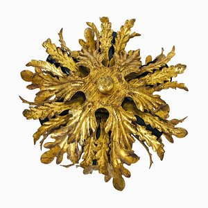 Golden Florentine Flower-Shaped Flush Mount from Banci, Italy, 1950s