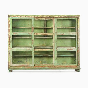 Wooden Showcase with Green Patina, 1940s