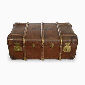 Englischer Suitcase Flaxile aus Holz und Leder, 1920er