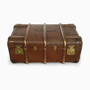 English Suitcase Flaxile in Wood and Leather, 1920s