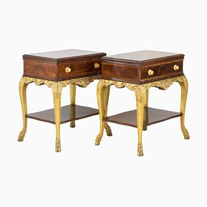 Louis XV Style Nightstands in Mahogany and Giltwood, 1950s, Set of 2