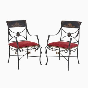 Directoire Style Armchairs in Lacquered Metal, 1970s, Set of 2