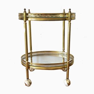 Neoclassical Style Golden Oval Bar Trolley with Glass Trays on Wheels, 1960s