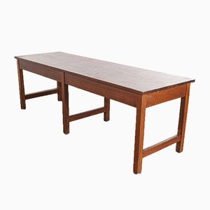 Large English School Laboratory Dining Table with Solid Iroko Top, 1950s