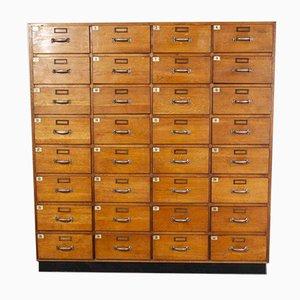 Cassettiera da toeletta in quercia con 32 cassetti, Germania, anni '50