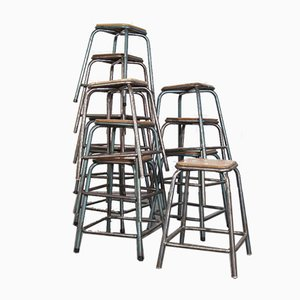 French Industrial Stacking High Stools from Mullca, 1950s, Set of 12