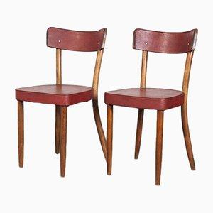 Sillas de comedor de bistró tapizadas en rojo de madera curvada, años 50. Juego de 4