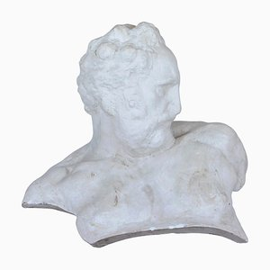 Italian White Plaster Gypsum Bust Academic Representation of Crepuscolo, 1950s