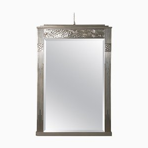 Art Deco Inlaid Silver Wood Frame Mirror with Beveled Glass, 1930s