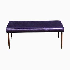 Bright Purple Velvet and Brass Ending Leg Bench, Italy, 1950s