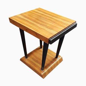 Art Deco Walnut & Black Ebonized Legs Square Side or Coffee Table, 1930s
