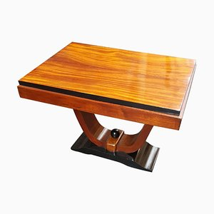 Small Italian Art Deco Mahogany Square Side or Coffee Table, 1930s