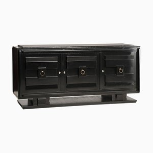 French Art Deco Style Black Lacquered & Crystal Top 3-Door Credenza, 1940s