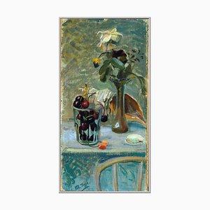 Conchiglie e Fiori Oil on Canvas Still Life Painting by Mario Tozzi, 1944