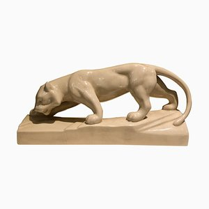 Art Deco White Ceramic Panther Sculpture, 1930s