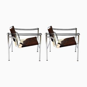 Postmodern Steel & Cowskin LC1 Numbered Chairs by Le Corbusier for Cassina, 1990s, Set of 2